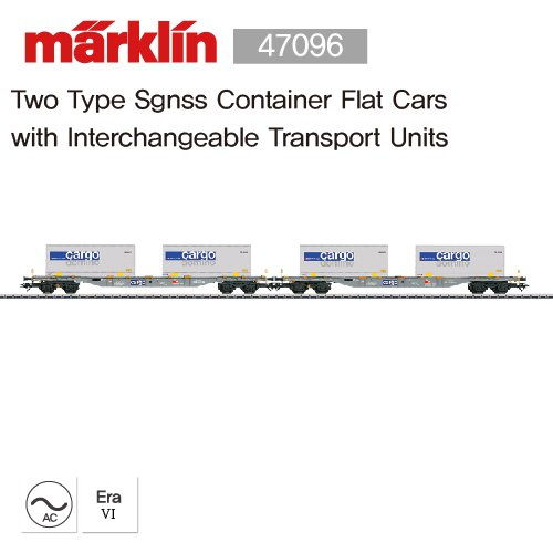MARKLIN 47096 Two Type Sgnss Container Flat Carswith Interchangeable Transport Units